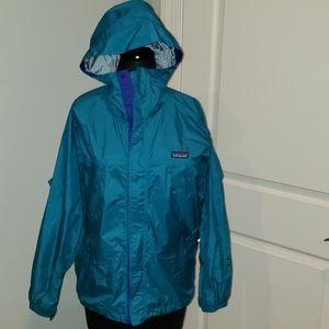Youth Patagonia rain coat size 12 real blue EUC